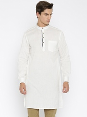 indus route by Pantaloons Men Off-White Solid Straight Kurta