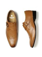 Carlton London Men Tan Brown Square-Toed Leather Monk Shoes