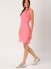 DressBerry Women Pink Printed Fit and Flare Dress