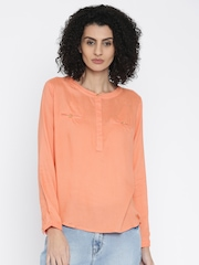 DressBerry Coral Pink Solid Shirt Style Top