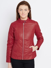 Fort Collins Red Quilted Faux Leather Biker Jacket