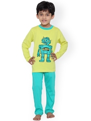 United Colors of Benetton Boys Yellow & Blue Printed Lounge Set BY06I