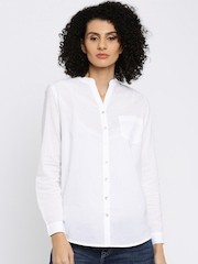 Lee Women White Solid Casual Shirt