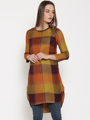 Vero Moda Mustard Yellow & Orange Checked Tunic