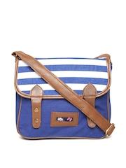 Kanvas Katha Navy & White Striped Sling Bag