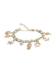 House Of Accessories Gold-Toned & Turquoise Blue Charm Bracelet