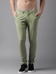 Moda Rapido Men Green Solid Slim Fit Chino Trousers
