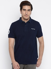 Being Human Clothing Men Navy Blue Printed Polo T-Shirt