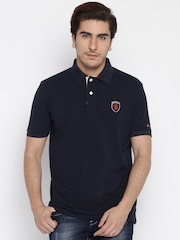 Being Human Men Navy Blue Solid Polo Collar T-Shirt