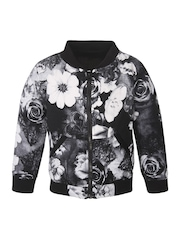 StyleStone Girls Black & White Floral Print Bomber Jacket
