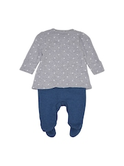 mothercare Girls Grey & Blue Printed Sleepsuit