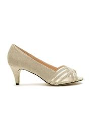 Carlton London Women Gold-Toned Shimmer Heels