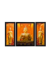 eCraftIndia Set of 3 Yellow Lord Buddha UV Wall Paintings