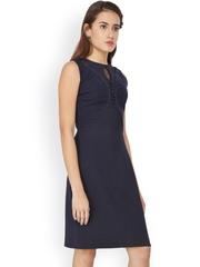 Soie Women Navy Solid A-line Dress