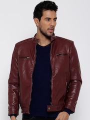 Fort Collins Maroon Faux Leather Biker Jacket