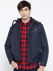 Fort Collins Navy Jacket with Detachable Hood & Sleeves
