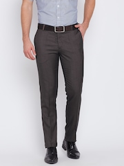 John Players Men Brown Solid Slim Fit Flat-Front Trousers