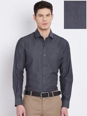 John Players Men Charcoal Grey Slim Solid Formal Shirt