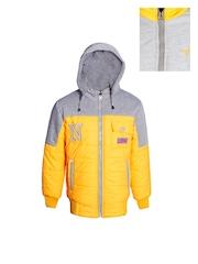 naughty ninos Kids Yellow & Grey Colourblocked Hooded Reversible Puffer Jacket