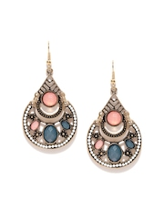 Anouk Antique Gold-Toned Stone-Studded Drop Earrings