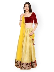 Moiaa Maroon & Gold-Toned Tissue & Velvet Semi-Stitched Lehenga Choli with Dupatta