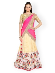 Moiaa Beige & Pink Tissue Semi-Stitched Lehenga Choli with Dupatta