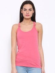 Flying Machine Women Pink Solid Tank Top