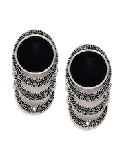 DressBerry Black & Oxidised Silver-Toned Stone-Studded Drop Earrings