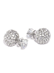 DressBerry Silver-Toned Double-Sided Stone Stud Earrings
