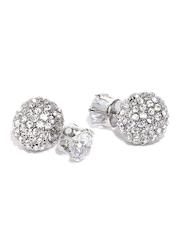 DressBerry Silver-Toned Double-Sided Stone Stud Earrings