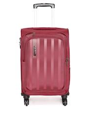 Safari Unisex Red Striped Lino 4W Small Trolley Bag