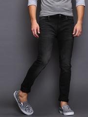 Moda Rapido Men Black Skinny Fit Mid Rise Jeans