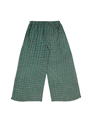 Teeny Tantrums Girls Green Printed Flared Fit Palazzo Trousers