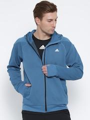 Adidas Blue WNTOFF Patterned Hooded Training Sweatshirt