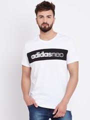 Adidas NEO Men White CS Logo Printed Round Neck T-shirt
