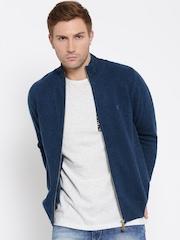 Monte Carlo Men Blue Solid Woollen Cardigan
