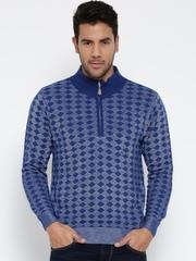 Monte Carlo Men Blue Patterned Woollen Sweater