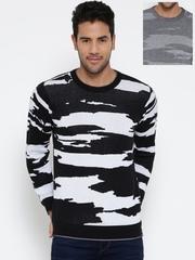 Monte Carlo Men Black & Grey Melange Patterned Reversible Sweater