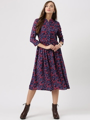 Marie Claire Women Blue Floral Print Fit & Flare Dress