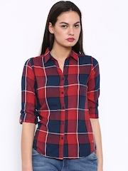 Flying Machine Women Red Checked Casual Shirt