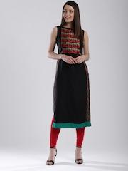 W Women Black Woven Design Straight Kurta