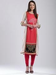W Women Red & Off-White Printed Kurta