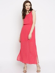 Global Desi Women Pink Printed Maxi Dress