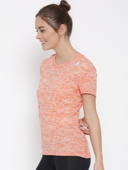 Adidas Women Orange & Off-White SN Self-Design Round Neck T-shirt