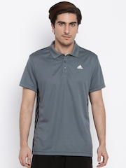 Adidas Men Charcoal Grey Solid Polo T-Shirt