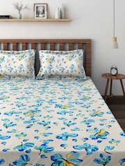 Raymond Home White & Blue Cotton 124 TC Double Bedsheet with 2 Pillow Covers