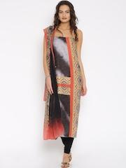 Jashn Black & Grey Printed Crepe Unstitched Dress Material