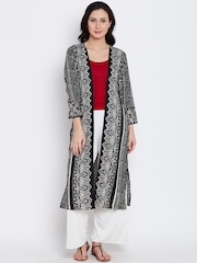 Shree Women Black Printed Open Front Longline Ethnic Jacket