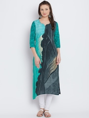 Shree Women Green & Grey Printed Straight Kurta