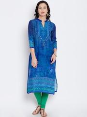 Shree Women Blue Printed Straight Kurta